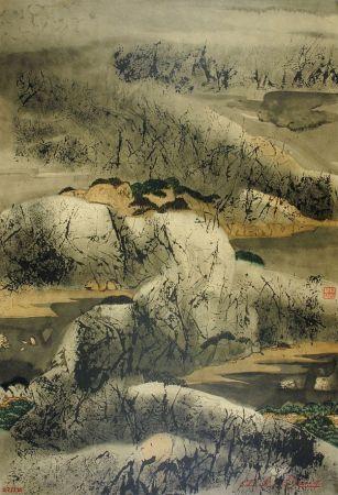 Litografia Wang - Chinese mountain landscape