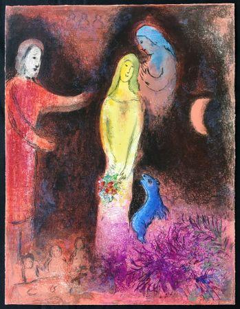 Litografia Chagall - CHLOÉ VÊTUE ET COIFFÉE PAR CLÉARISTE (Daphnis & CHLOÉ - 1961)