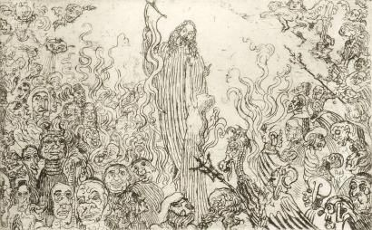 Acquaforte Ensor - Christ descendant aux enfers
