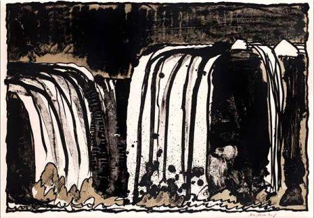 Litografia Alechinsky - Chute blanche