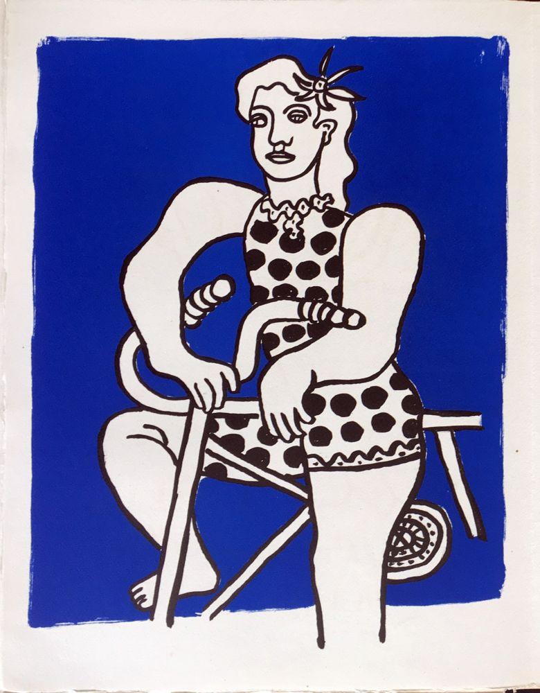 Litografia Leger - Cirque : Cycliste sur fond bleu. 1950