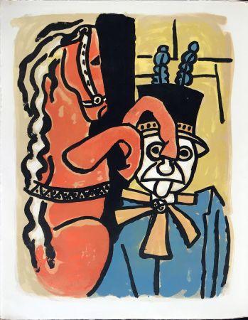 Litografia Leger - Cirque : Dompteur et cheval. 1950