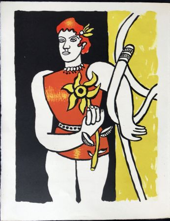 Litografia Leger - Cirque : Jongleuse au Tournesol. 1950