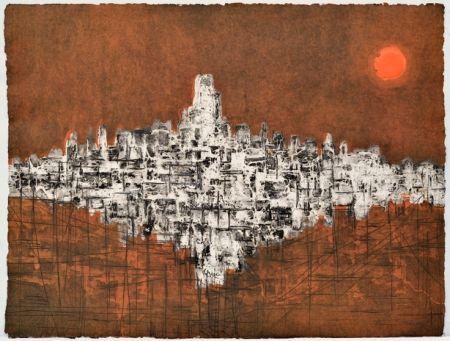 Incisione Su Legno Ferran -  Ciutat de nit amb variació de llum
