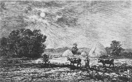 Acquaforte Daubigny - Clair de lune a Valmondois