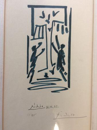 Litografia Picasso - Colombes et prisonniers (pour les exiles espagnols)