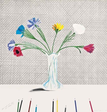 Litografia Hockney - Coloured Flowers Made Of Paper And Ink