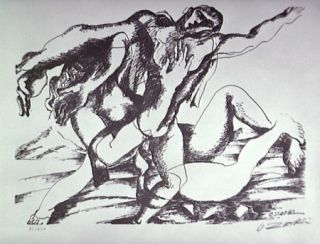 Litografia Zadkine - Combat avec l'Amazone Hippolyte
