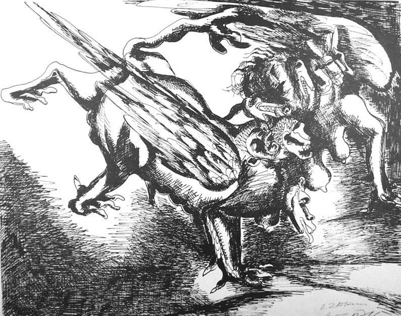 Litografia Zadkine - Combat avec l'hydre de Lerne