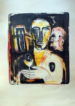 Litografia Paladino - Come in uno specchio