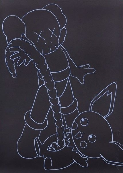 Serigrafia Kaws - Companion vs. Pikachu