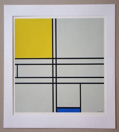 Serigrafia Mondrian - Compositie met blauw en geel - 1935