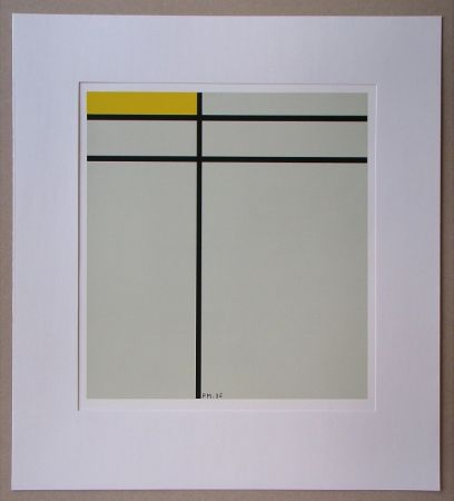 Serigrafia Mondrian - Compositie met geel - 1935