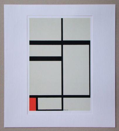 Serigrafia Mondrian - Compositie met rood - 1931