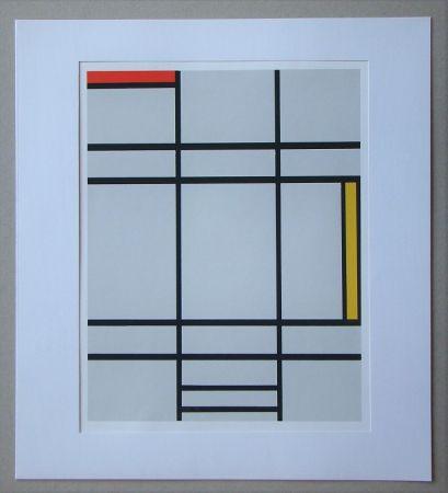 Serigrafia Mondrian - Compositie met rood en geel - 1935