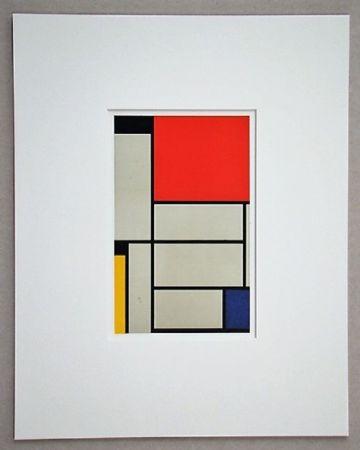 Litografia Mondrian - Compositie met rood, geel, blauw, zwart en grijs