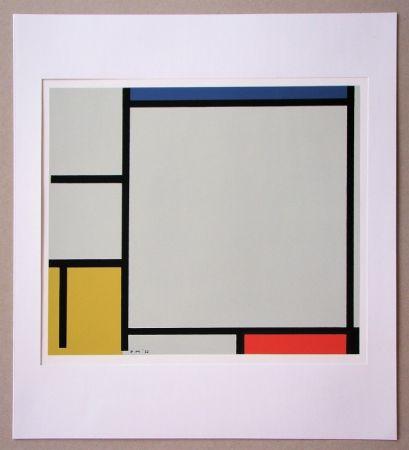 Serigrafia Mondrian - Compositie met rood, geel en blauw - 1922