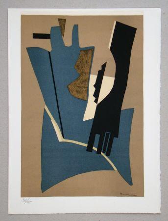 Litografia Magnelli - Composition - Papier collé 1948