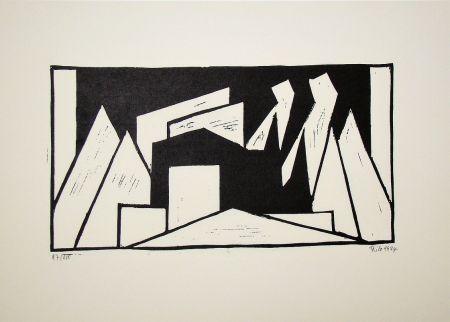 Incisione Su Legno Maatsch - Composition, 1924