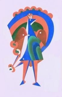 Litografia Larionov - Composition au paon