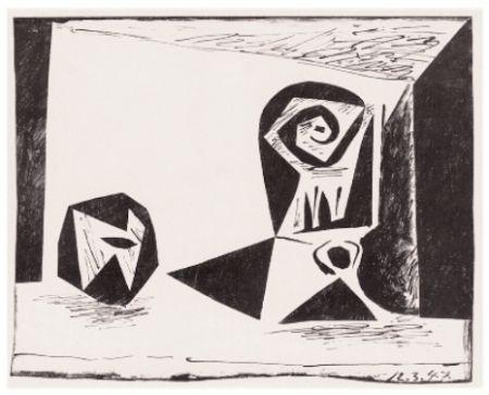Litografia Picasso - Composition au Verre à Pied