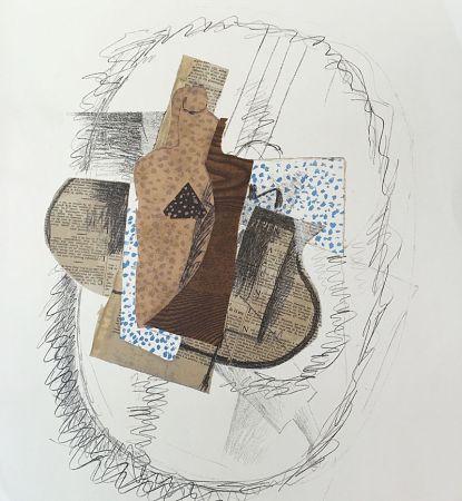 Litografia Braque (After) - Composition au violon et journal découpé
