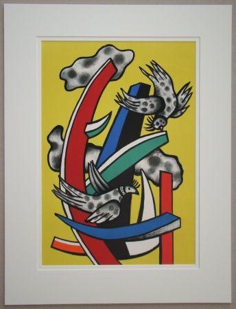 Litografia Leger - Composition aux deux oiseaux sur fond jaune, 1955