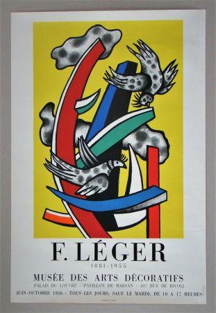 Manifesti Leger - Composition aux deux oiseaux sur fond jaune, 1955
