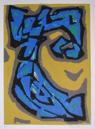Litografia Blass - Composition blau auf ocker