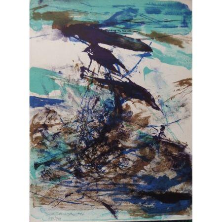 Litografia Zao - Composition bleu et brune