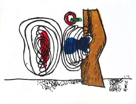 Litografia Le Corbusier - Composition bleu et rouge