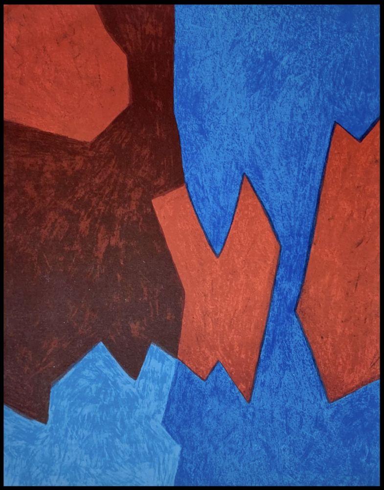 Litografia Poliakoff - Composition Bleue et Rouge