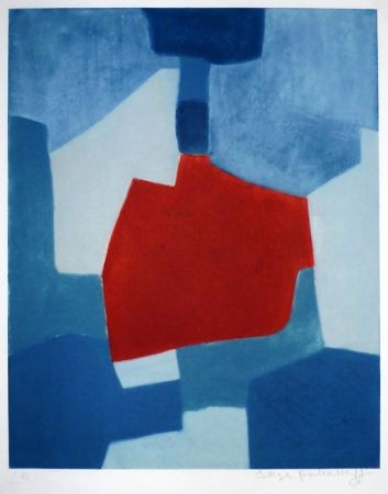 Incisione Poliakoff - Composition bleue et rouge
