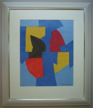 Litografia Poliakoff - Composition bleue, rouge et jaune