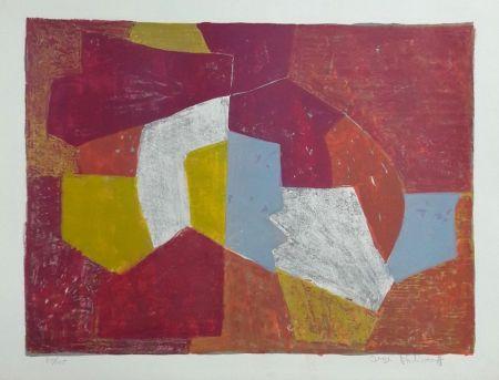 Litografia Poliakoff - Composition Carmin, Brune, Jaune et Grise