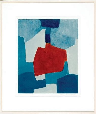 Acquatinta Poliakoff - Composition En Blue And Rouge