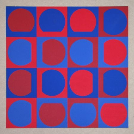 Serigrafia Vasarely - Composition Folklore Planétaire