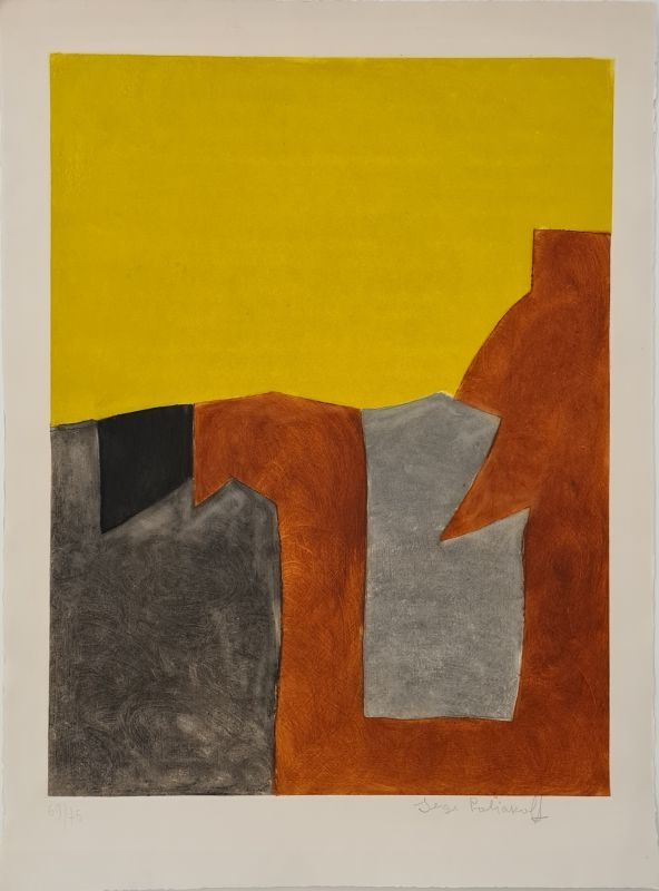 Acquaforte E Acquatinta Poliakoff - Composition grise brune et jaune IX