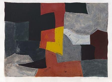 Litografia Poliakoff - Composition grise rouge et jaune