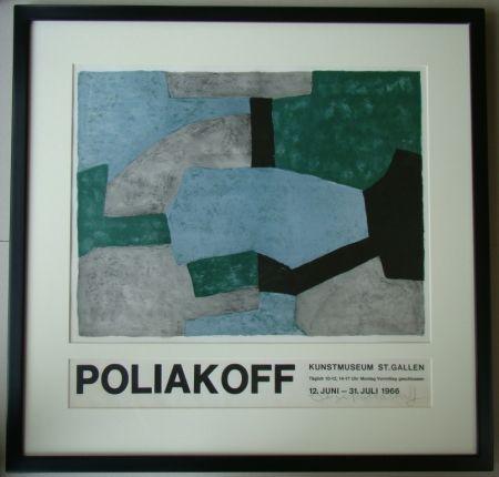 Litografia Poliakoff - Composition grise, verte et bleue