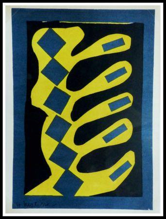 Litografia Matisse - COMPOSITION  JAUNE BLEU ET NOIR