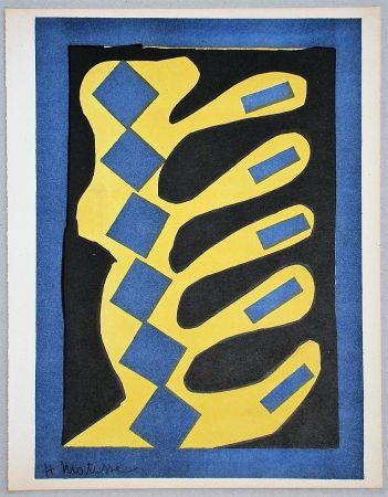 Litografia Matisse - Composition jaune, bleu et noire, 1947
