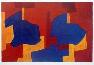 Litografia Poliakoff - Composition jaune bleue et rouge