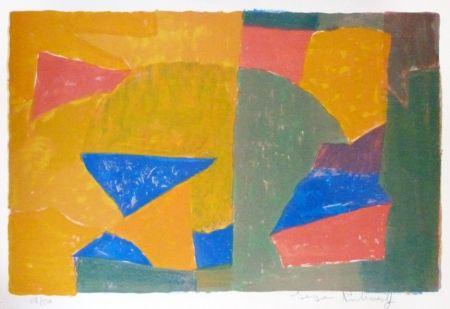 Litografia Poliakoff - Composition jaune, verte, bleue et rouge