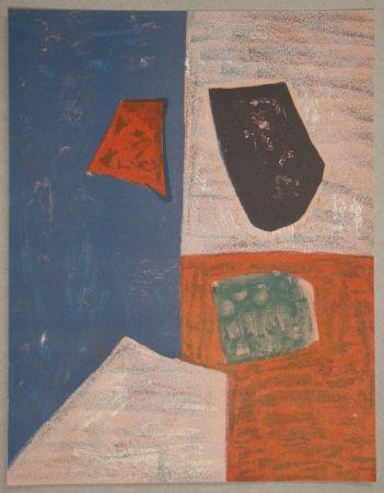 Litografia Poliakoff - Composition rose, rouge et bleue