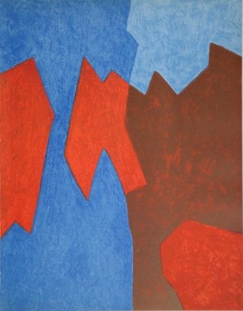 Litografia Poliakoff - Composition rouge et bleue