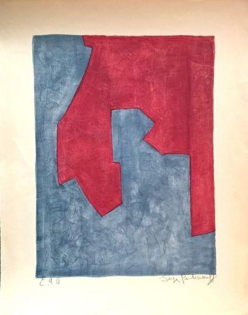 Litografia Poliakoff - Composition Rouge et Bleue n°49