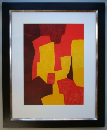 Litografia Poliakoff - Composition rouge, jaune et brune