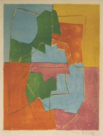 Litografia Poliakoff - Composition Rouge Verte Bleue et Jaune n°12