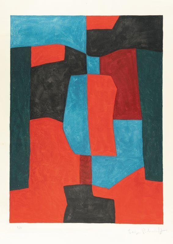 Litografia Poliakoff - Composition rouge, verte et bleue n°76